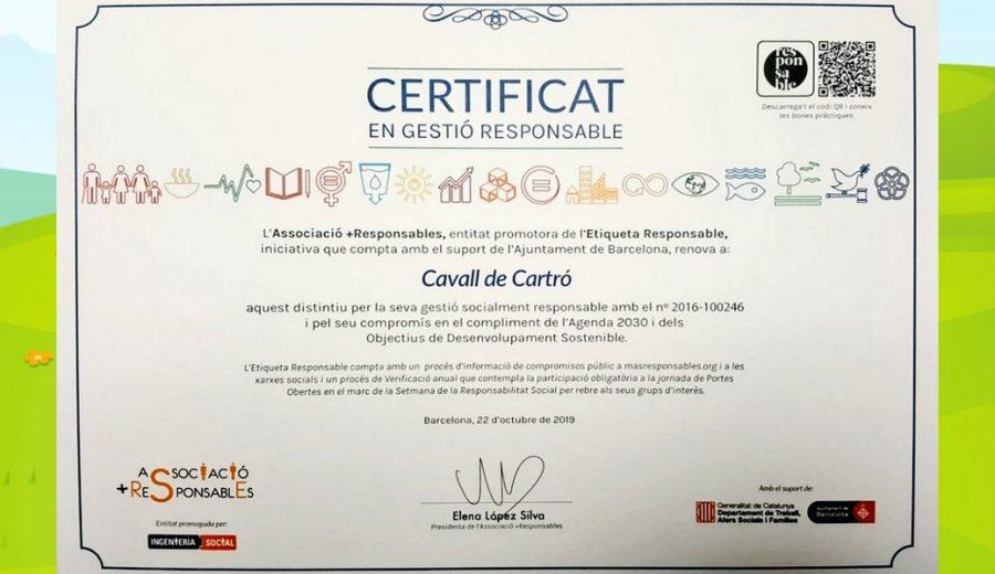 Certificat Gestió Responsable Escoles Bressol Cavall de Cartró